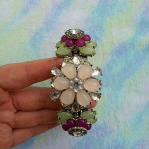 Floral Jeweled Cuff Bracelet